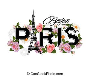T-shirt print design with slogan Hello Paris, Eiffel tower, frame and pink roses.