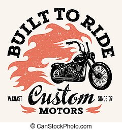 T shirt print - Classic chopper motorcycle with fire flame....