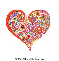 T-shirt print with abstract heart floral red shape with colorful flowers and paisley