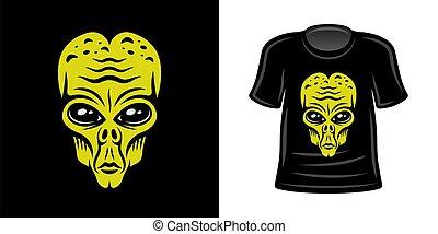 T-shirt print with alien vector apparel design