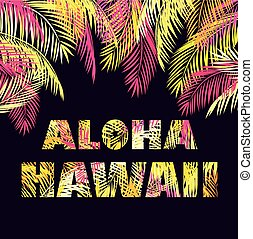T-shirt print with Aloha Hawaii lettering with yellow and...