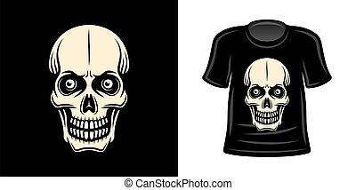 T-shirt print with skull vector apparel design