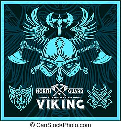 T-shirt print with viking emblems in vintage style. Vector illustration