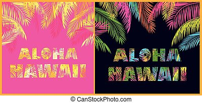 T-shirt prints variation with Aloha Hawaii lettering and...