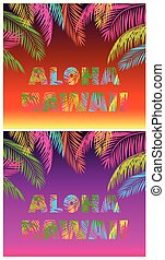 T-shirt prints variation with Aloha Hawaii lettering with...