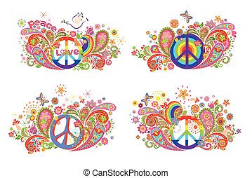 T-shirt prints with hippie peace symbol and flower-power