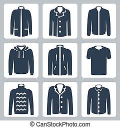 t-shirt, puffer, trui, hemd, iconen, jas, mannen, jas, ...
