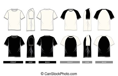 T shirt templates short sleeve raglan, front, side, back, vector image illustration