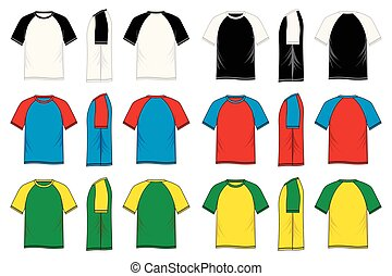 Round neck t-shirt raglan templates. Set of colored shirt in front view and back view for casual wear. Vector illustration.