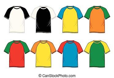 T-shirt raglan sleeve templates colors, vector image design