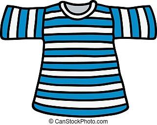 T shirt, randig, sjöman. Blå t shirt, sjöman, design