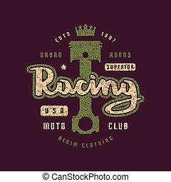 t-shirt, rennsport, emblem