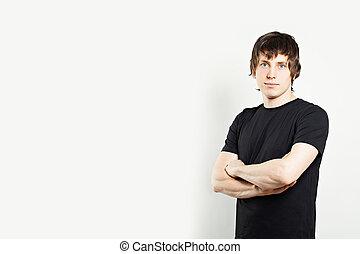 t-shirt, retrato, homem preto
