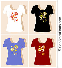 t-shirt, rose, conception