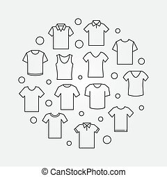 T-shirt minimal round illustration. Vector tshirt circular symbol in thin line style