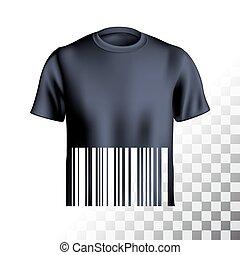 t-shirt, s, uomini, disegno, barcode