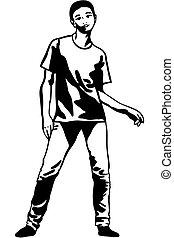 t-shirt, schizzo, jeans, giovane