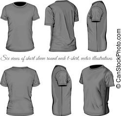 t-shirt, seis, pretas, vistas