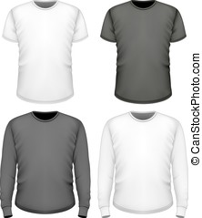 t-shirt, shortinho, manga longa, homens