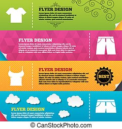 t-shirt, shorts., calças, signs., roupas
