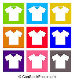 T-shirt sign icon. Clothes symbol. Round colourful buttons. Vector