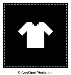 T-shirt sign illustration. Black patch on white background. Isol