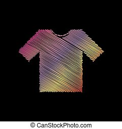 T-shirt sign illustration. Coloful chalk effect on black backgound.