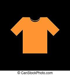 T-shirt sign illustration. Orange icon on black background. Old phosphor monitor. CRT.