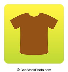 T-shirt sign. Vector. Brown icon at green-yellow gradient square with rounded corners on white background. Isolated.