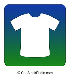 T-shirt sign. Vector. White icon at green-blue gradient square with rounded corners on white background. Isolated.