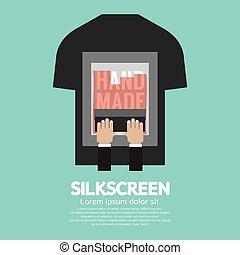 t-shirt, silkscreening, vecteur, ouvrier, illustration