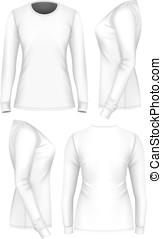t-shirt, sleeve., long, femmes