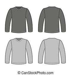 t-shirt, sleeved, homens, cinzento, longo, shirts., vetorial