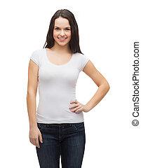 t-shirt, sourire, blanc, adolescent, vide