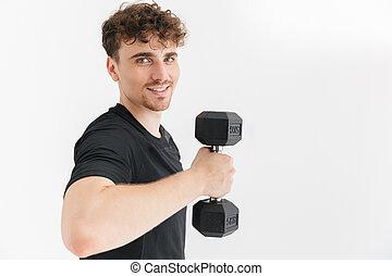 t-shirt, sportivo, foto, allenamento, muscolare, dall'aspetto, macchina fotografica, closeup, durante, dumbbell, sollevamento, uomo