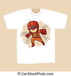 t-shirt, stampa, disegno, superhero