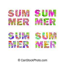 t-shirt, stampe, collezione, estate, iscrizione, con, foglie palmo, fiori tropicali, dipinto, e, decorativo, vendemmia, ramage, isolato, bianco, fondo