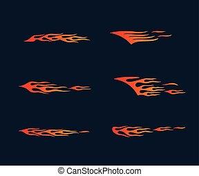 t-shirt, stile, arte, fiamme, fuoco, tribale, decorazione, grafica, striscia, vettore, vinile, veicolo, pronto, tatuaggio, design.