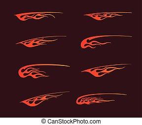 t-shirt, styl, sztuka, płomienie, ogień, plemienny, ozdoba, grafika, pas, wektor, winyl, pojazd, gotowy, capstrzyk, design.
