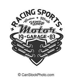 t-shirt, tävlingsbil, utströmning, print., röret, motorsport