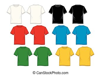T-shirt template front and back colorful, vector image