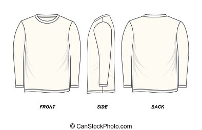 t-shirt template long-Sleeve, front, side, back, isolated on a white background, vector image