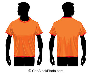 T-shirt template - Men body silhouette with t-shirt template...
