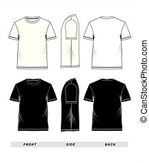 T-shirt template short sleeve blank, front, side, back, black and white, vector image