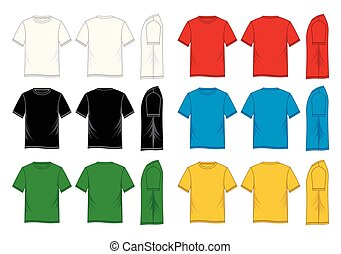 e333dff3a Green male t-shirt template v-neck front and back side views. Green ...
