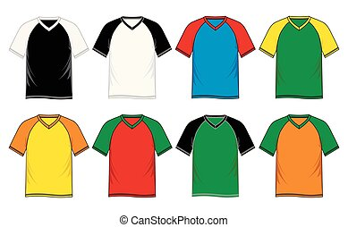 T-shirt template v neck, raglan sleeve, vector image design