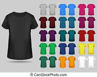 T-shirt templates collection of different colors