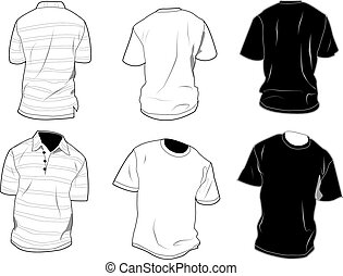 Set of polo and shirt, front and back, black and white. Shadow, seam and outline are separated, so it can be easily editable. Free space for your own art between outlines and shadows. EPS 8.