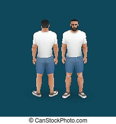 t-shirt, uomini, calzoncini