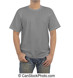 t-shirt, uomini, grigio